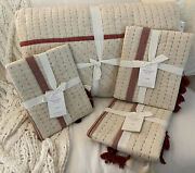Pottery Barn 4pc Red Nellie Tassle Pickstitch King Quilt And 3 Shams Christmas