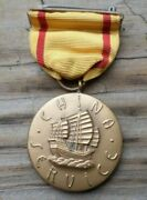 Early China Service Medal Wrap Brooch Thick Medal Campaign Service Ww2 Pre