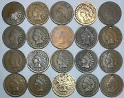20 Indian Head Cent/penny-lot Culls/20 Junk Coins Free Shipping 25f