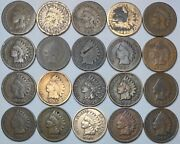 20 Indian Head Cent/penny-lot Culls/20 Junk Coins Free Shipping 25e