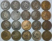 20 Indian Head Cent/penny-lot Culls/20 Junk Coins Free Shipping 25d