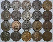 20 Indian Head Cent/penny-lot Culls/20 Junk Coins Free Shipping 25c
