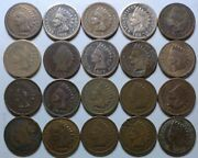 20 Indian Head Cent/penny-lot Culls/20 Junk Coins Free Shipping 25a
