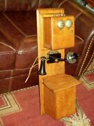 Early 1900and039s Antique Telephone Hand Crank Double Box Phone Nice Eye Catcher