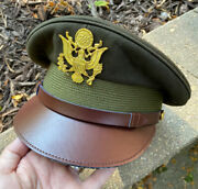 Excellent Us Officers Od Service Visor Cap Crusher Wwii Army Usaaf B-17 B-24