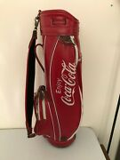 Vintage Vinyl Coca Cola Red Golf Bag Red White Made Usa Coke Caddy
