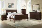 Cherry Finish 5pc Bed Set Dresser Mirror Nightstand Bedroom Furniture King Size