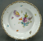 Dresden Hand Painted Floral And Gold 9 3/8 Inch Wide Shallow Bowl Circa 1890-1915