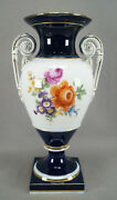 Meissen Hand Painted Floral Cobalt And Gold Neoclassical Shape Urn Vase C1860-1924
