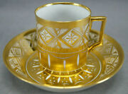 St Petersburg Russian Porcelain Gold Diamonds Coffee Cup And Saucer C. 1796-1801
