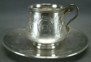Karl Faberge Moscow Russian Silver Monogrammed Floral Coffee Cup And Saucer C.1887