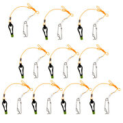 10pcs Outrigger Power Grip Snap Release Clip W/ Leader For Sea Fishing Black