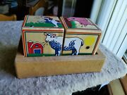 Vintage Melissa And Doug Farm Cube Puzzle, Animals Sounds Free Shipping