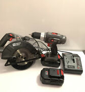 Porter Cable Combo Set-circular Saw Pc186cs 18v 18v Drill 2 Batteries Andcharger