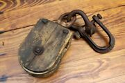 Antique Wood Block And Tackle Pulley Farmhouse Repurpose Light Decor