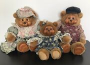 Lot Of 3 Vintage Bears Wood Face Tl Toys Mama Papa Baby Original Outfits