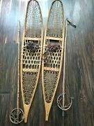 1953 U.s. Army Sno-craft Snow Shoes Bamboo Poles Includedbit Rough But Rare...