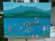 Swimming At Silver Lake Nh 2015 Oil Painting 18 X 24 Jane Wilcox Hively