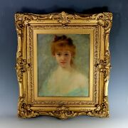 Antique French School Portrait Painting Of A Young Woman