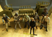Star Wars Tatooine Skiff 2000s Version And Figures Lot W Weapons, Some Rare