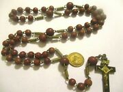Vintage Antique Brown Wood Rosary +1 Bronze Religious Medal And Crucifix Lot Of 1