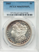 1885 Morgan Dollar Pcgs Ms65dmpl Liberty And Eagle In High Cameo-like Relief