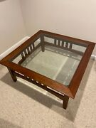 Vintage Ethan Allen American Impressions Cherry Square Glass Top Coffee Table