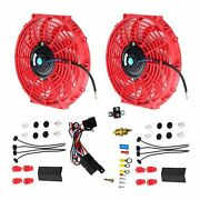 2x 12and039and039electric Cooling Fan 12volt Push-in Radiator Fin Probeandthermostat Kit Red