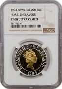 1994 New Zealand 50c H.m.s. Endeavour Pf68 Ultra Cameo Only 6 Graded Higher