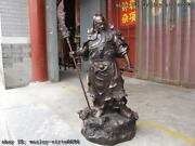 37 Chinese Red Copper Bronze Famous Dragon Hold Sword Guan Gong Warrior Statue