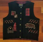 John Rich And Bros Woolrich Size Small Black Emboidered Vest Button Front Bear