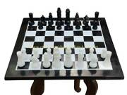 Chess Marble Black Set Board And Stone Game White Handmade Pieces Vintage Carved