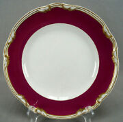 Pair Of Charles Meigh And Son Burgundy Maroon Gold Earthenware 10 1/2 Inch Plates