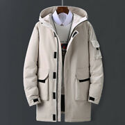 Men Hooded Duck Down Long Padded Jacket Parka Coat Outerwear Overcoat Top Casual