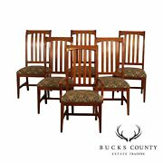 Ethan Allen American Impressions Set 6 Cherry Mission Style Dining Chairs
