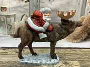 8.6 Wooden Carved Santa On Moose Father Frost Ded Moroz Christmas Decoration
