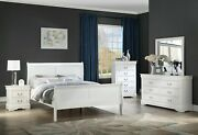 White Finish 5pc Bed Set Dresser Mirror Nightstand Bedroom Furniture Full Size