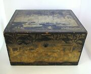 Rare Antique Chinese C1800 Lacquered Wood Large Tea Caddy Chest/box Pewter Liner