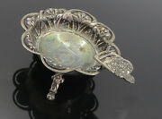 925 Sterling Silver - Vintage Antique Oxidized Floral Ash Tray - Tr1361