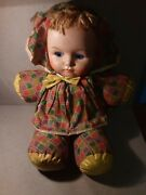 Vintage Large Carnival Prize Cloth Stuffed Doll Painted Plastic Face