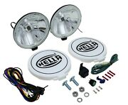 Hella 500ff Round Driving Lamp Lights Kit Clear Lens With Black Housing 12v 55 W
