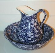 Vintage Royal Crownford Blue Calico Flowers Large Water Pitcher And Bowl