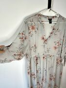 Lot Of Two Torrid Sz 1 Sheer Floral Blouse/dress Buttoned High Low Design