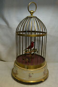Antique German Bird In Brass Cage Automaton Works Perfectly Singing Moving Wind
