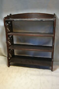 Antique Small Wall Shelving Unit Carved Wood With Chain For Hanging
