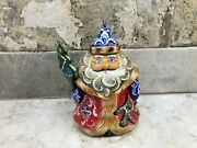 Russian Hand Painted And Carved Wooden Santa Claus Ornament