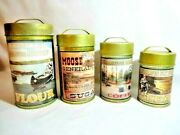 Lodge Canisters 4-pc Primitive Rustic Kitchen Tins Lake Fishing Moose Camping