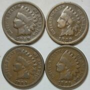 Indian Head Penny Lot Of 41888-1889-1890 And 1891 Avg Circ Free Shipping030
