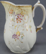 Bawo And Dotter Limoges Hand Painted Floral And Gold Blush Ivory Pitcher C 1896-1900