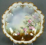 Gda Limoges Pink And White Rose Double Gold Shallow Bowl Circa 1900-1941